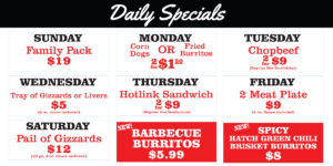 Daily Specials 2020